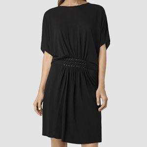 All Saints Black Aria Laced Waist Dress